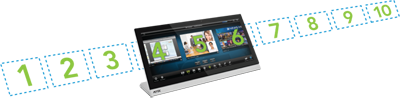 The Modero X Series Multi Preview and Multi Preview Live can display images from up to 10 different sources.